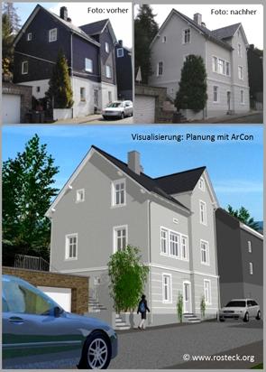 Gebäudesanierung: Vorher - Planung mit Arcon - Nachher